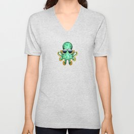 Cute Green Baby Octopus Wearing Sunglasses Unisex V-Neck