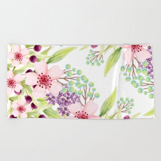 FLOWERS WATERCOLOR 7 Beach Towel