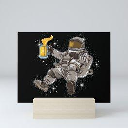 Sociable Astronaut Drinks Beer | Galaxy Universe Mini Art Print