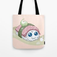 sushi Tote Bags featuring Sushi by sw4mp rat