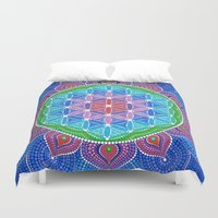 flower of life Duvet Covers featuring Lotus Flower of Life by Elspeth McLean