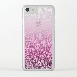 Gradient pink and white swirls doodles Clear iPhone Case