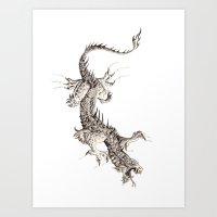 dragon Art Prints featuring Dragon by Ju.jo.weh