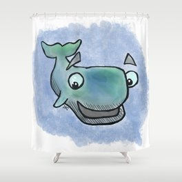Whale Watercolor Shower Curtain