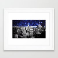 new york city Framed Art Prints featuring new york city. Blue Stars by 2sweet4words Designs