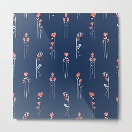 Retro Dark Flower Pattern in Modern Navy and Coral Metal Print