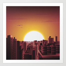 Warm sunset in the City Art Print