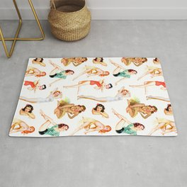 Vintage Tropical Hawaiian Pinup Girls Rug