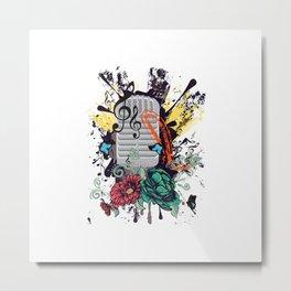 Grunge retro musical microphone. Metal Print
