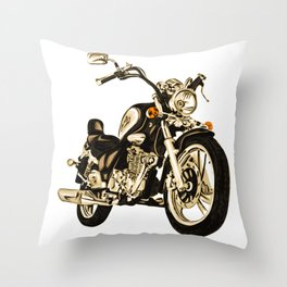 Stylized motorcycle clipart - Digital motorbike Throw Pillow
