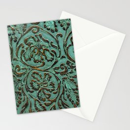Aqua Flowers Tooled Leather Stationery Cards