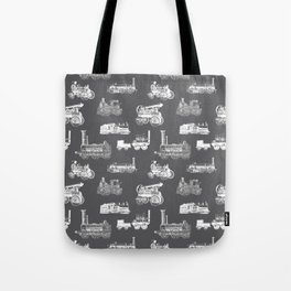Antique Steam Engines // Charcoal Grey Tote Bag