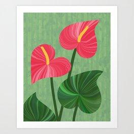 A Pair Of Anthurium Hearts Art Print
