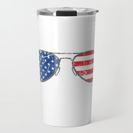 "Nice American Flag Shirt Theme With A Unique Illustration Of Sunglasses ""Back-Up Terry"" T-shirt Travel Mug"