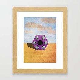 Purple Hexagon Monster Framed Art Print
