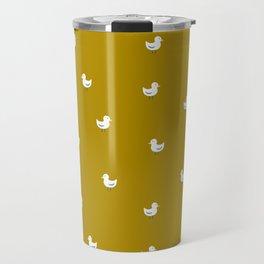 White birds in mustard orange Travel Mug