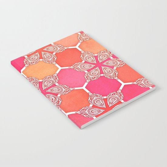 Pink Spice Honeycomb - Doodle Hexagon Pattern Notebook