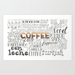 Coffee Typography Mashup Art Print