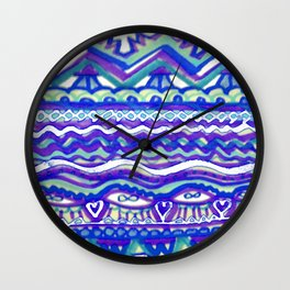 Aztec Blue Mountains and Fields of Streams Wall Clock