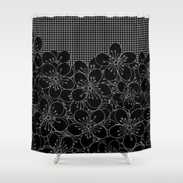 Cherry Blossom Grid Black Shower Curtain
