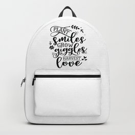 Plant smiles grow giggles harvest love - Garden hand drawn quotes illustration. Funny humor. Life sayings. Backpack