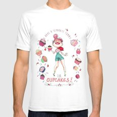 Cupcakes MEDIUM White Mens Fitted Tee