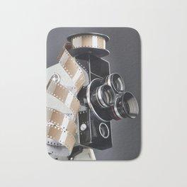 Retro mechanical movie camera and reel film Bath Mat