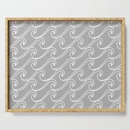 Rough Sea Pattern - Light Grey Serving Tray