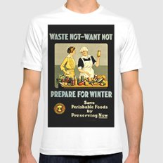 Waste Not Want Not MEDIUM Mens Fitted Tee White