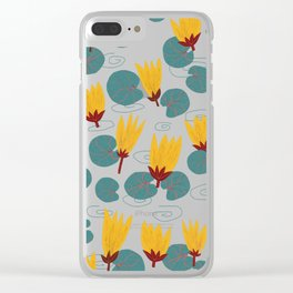 Yellow Waterlilies Lotus Pattern Illustration Clear iPhone Case