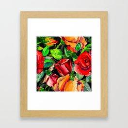 Green Rose Chafer Beetles Amidst the Garden Framed Art Print