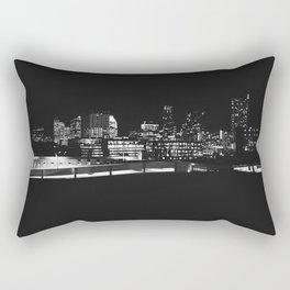 Austin Cityscape - Black and White Rectangular Pillow