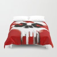 fierce Duvet Covers featuring fierce skull by mystudio69