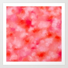Blush Cream Coral Floral Abstract Art Print