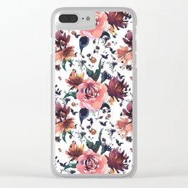 Hand painted coral burgundy watercolor roses floral pattern Clear iPhone Case