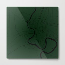 Bangkok Thailand Minimal Street Map - Forest Green and Black Metal Print