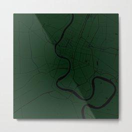 Bangkok Thailand Minimal Street Map - Forest Green and Black Metal Print