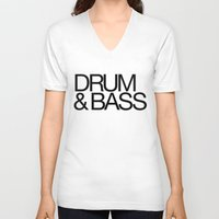 drum V-neck T-shirts featuring Drum & Bass by DropBass