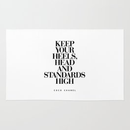 Keep Your Heels High Black and White Inspirational Typography Quote Grl Pwr Girls Bedroom Poster Rug