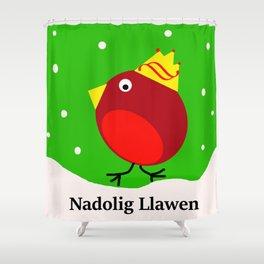 nadolig llawen Merry Christmas robin Shower Curtain