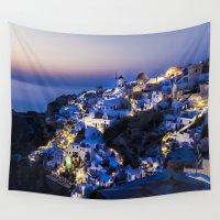 greece Wall Tapestries featuring Santorini Island NightView Greece by Sofia_Katsikadi