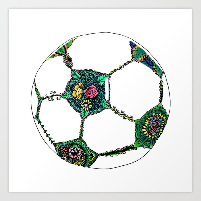 floral soccer ball art print by deppo society6