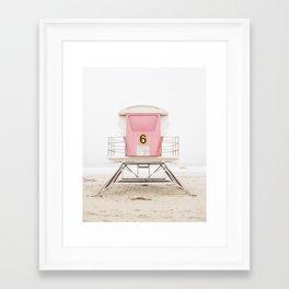California Beach Print, Pink Tower 6 Framed Art Print