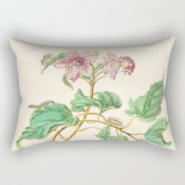 Floral watercolour with quote by Thoreau based on 17th century botanical illustration by Maria Merian  Rectangular Pillow