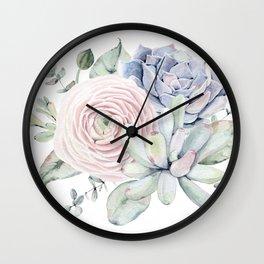 Succulent Blooms Wall Clock