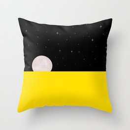 Black night with stars, moon, and yellow sea Throw Pillow