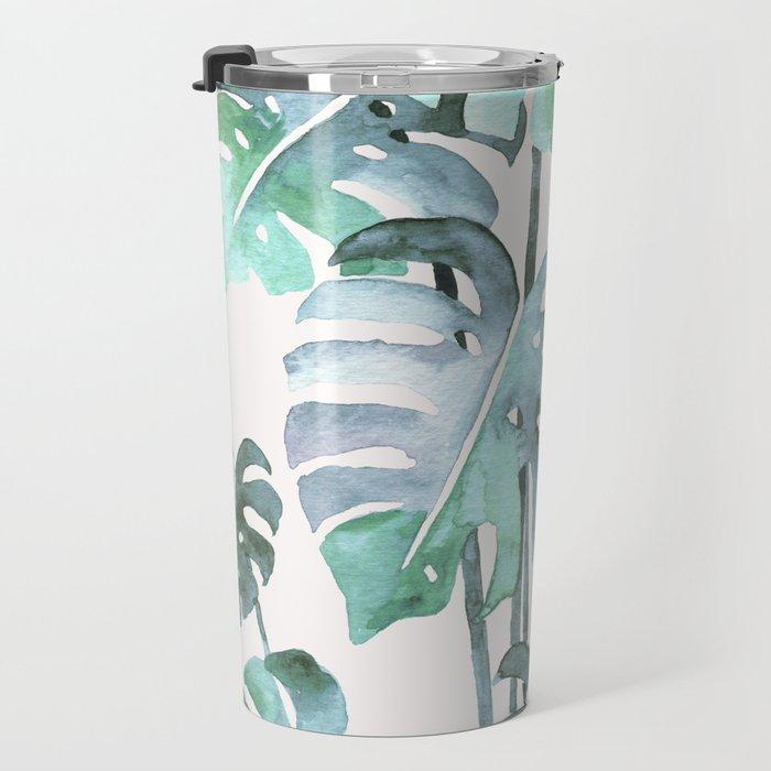 Delicate Monstera Blue And Green #society6 Travel Mug