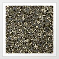 French Paisley - Black Art Print