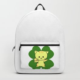 Cat On Four Leaf Clover - St. Patricks Day Funny Backpack
