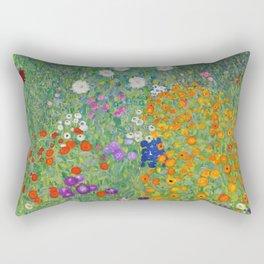 Gustav Klimt Flower Garden Floral Art Nouveau Rectangular Pillow